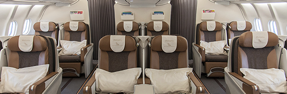 Business Class space with South African Airways