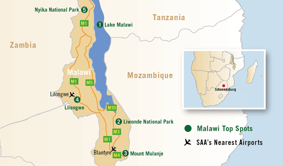 Lake Malawi Africa Map.Discover Malawi South African Airways