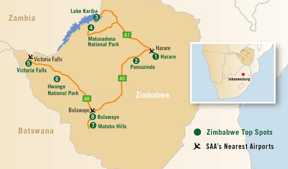 Lake Kariba Africa Map.Discover Zimbabwe South African Airways