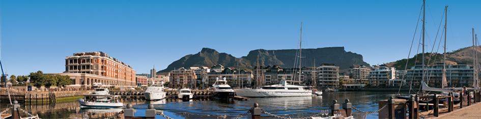 Western Cape boat dock with mountain in background