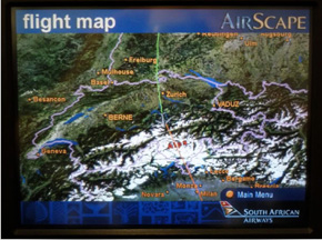 Inflight Entertainment South African Airways - Earth map show airplane travell from us to austrialia