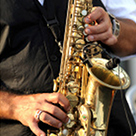 saxophone with hands