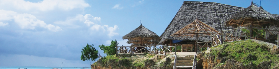 building with thatch roof in Dar Es Salaam