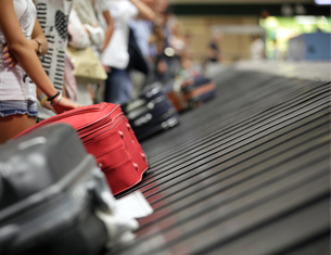 baggage on conveyor at the airport