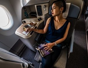 lady sitting in plane seat