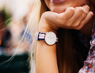 girl with a watch in the wrist